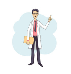 Asian doctor talking in white coat with folder vector