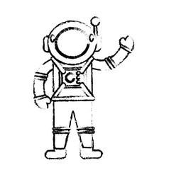 astronaut suit spaceman sketch vector image