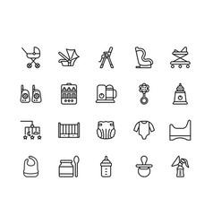 Baitems flat line icons set vector