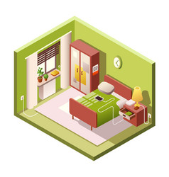 Bedroom cartoon of isometric vector