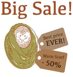 Big Sale with hedgehog trendy scarf vector image