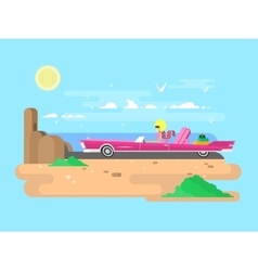 Blonde in a cabriolet on vacation vector