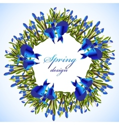 Bluebell flowers wreath vector image