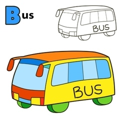 Bus Coloring book page vector image