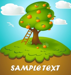 cartoon of a tree with apples in a fun style drawn vector image