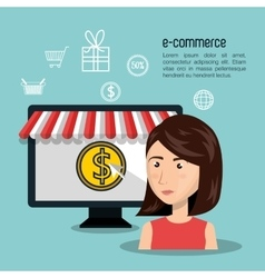 Cartoon woman currency e-commerce isolated design vector