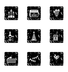 Children party icons set grunge style vector