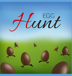 Chocolate egg 3d happy easter egg hunt text vector