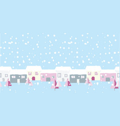 christmas street snowing scene on blue background vector image
