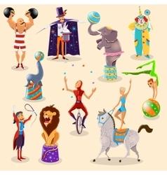Circus vintage pictograms set arrangement vector