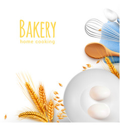 cooking tools realistic composition vector image