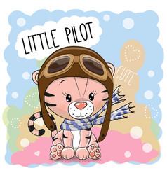 Cute cartoon tiger vector