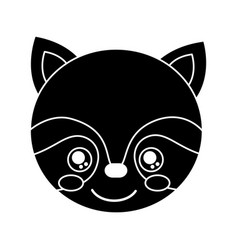 cute raccoon animal head image vector image