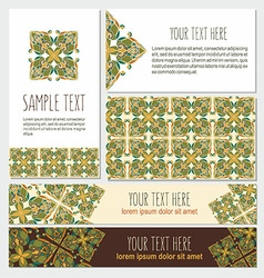 Decorative template banner and card set vector