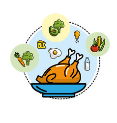 Delicious chicken with vegetables and fruits icons vector