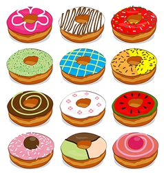 Donuts cute Collection Set vector