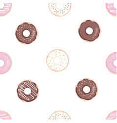 donuts with pink icing seamless white pattern vector image