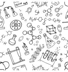 Doodle pattern chemistry vector image