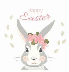 Easter bunny rabbit hare mascot character face vector