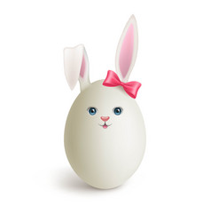 Egg painted under funny bunny with red bow vector