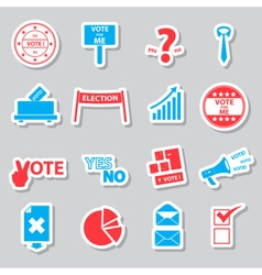 election and vote color simple stickers set eps10 vector image