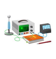 Electronics studies with equipment vector