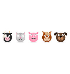 farm animals and pets faces emoticons vector image
