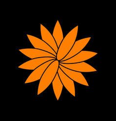 flower sign orange icon on black background old vector image