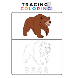Funny bear tracing and coloring book with example vector