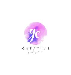 gc watercolor letter logo design with purple vector image