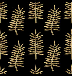 Golden palm leaves seamless pattern vector