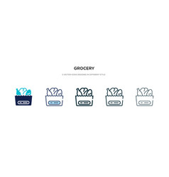 Grocery icon in different style two colored and vector