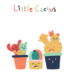 Hand drawn of cute little cactus isolated on vector