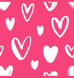 Hand drawn seamless pattern with hearts on bright vector