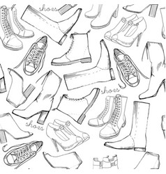 hand drawn sketch seamless pattern of shoes vector image