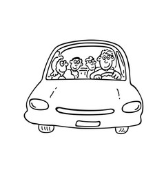 Happy family on the car outlined cartoon handrawn vector