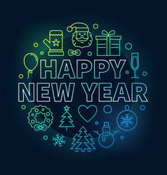 happy new year round colorful line vector image