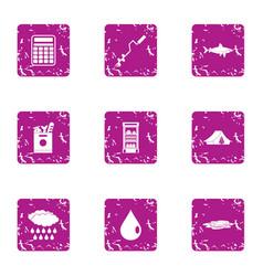 Ice fishing icons set grunge style vector