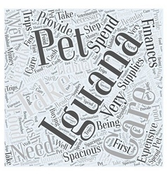 Iguana pets word cloud concept vector