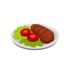 Isometric icon of plate with lettuce leaves vector