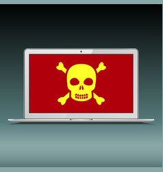 Laptop with scull sign on screen vector