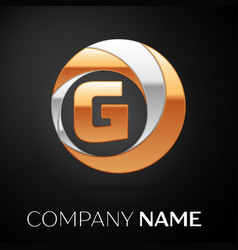 letter g logo symbol in the golden-silver circle vector image