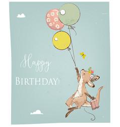 Little kangaroo with balloon vector