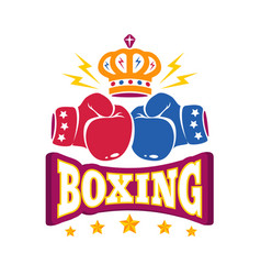 logo with two gloves and crown for boxing vector image