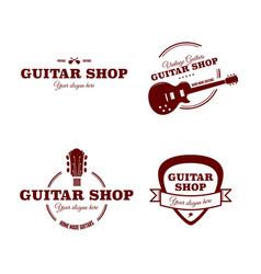 logos for guitar shop vector image
