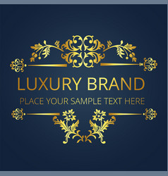 luxury brand gold text flower design image vector image