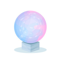 Magical crystal ball with blue-pink gradient vector