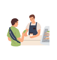 Male client paying for takeaway hot drink in cash vector