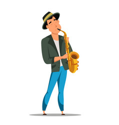 Male jazz saxophonist character isolated on white vector