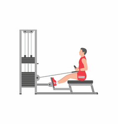 man doing heavy weight exercise for back vector image